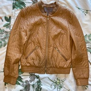 Halston Heritage Quilted Leather Jacket